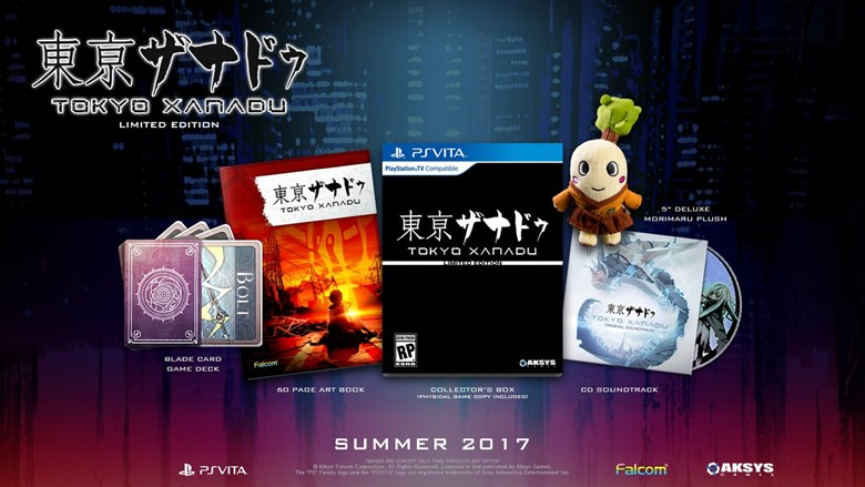 The Vita box contains: 5? Deluxe Morimaru Plush, Blade Card Game Deck, 60 page Art Book, CD Soundtrack, Collector's Box