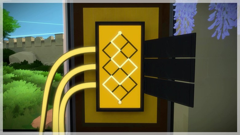 The puzzle solution brings back the light grid barrier from the game's opening.